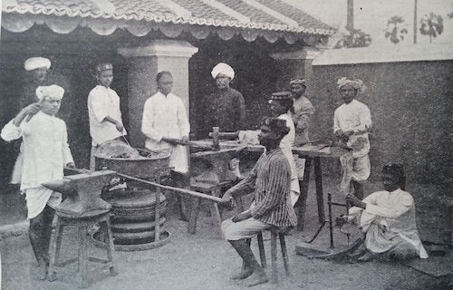 The Blacksmith Class, Nazareth Industrial School, Tamilnadu, India (1890-1900), The United Theological College Library and the Nazareth Industrial School Collection.
