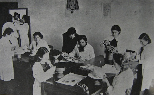 Students of Izmir Girls' Institute in Fashion Class. From the 1937-38 yearbook of Izmir Girls' Institute.