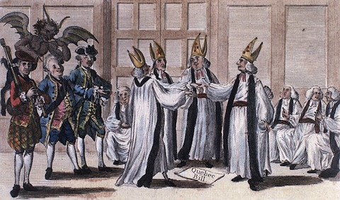 'The Mitred Minuet' (Lord Bute, Lord North, and Lord Chief Justice Mansfield celebrate the passing of the Quebec Act of 1774). Library and Archives Canada