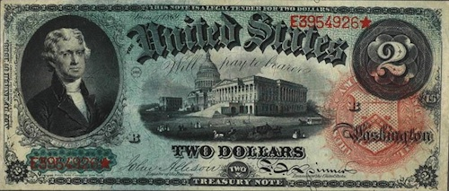 $2 Bill from 1869, photo courtesy of Wikipedia