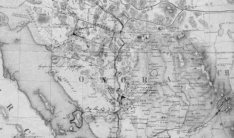 Map of copper and silver mines in near US-Mexico border, part of a mining report sent to Reichskanzler Bismarck in Berlin in September 1871 / Bundesarchiv Berlin-Lichterfelde