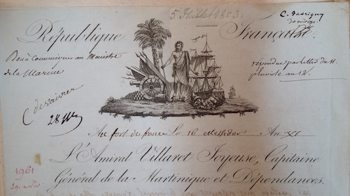 1803 letterhead of the General Captaincy of Martinique and St. Lucie, Archives Nationales d'Outre-Mer at Aix-en-Provence, France (signature FR ANOM C10 C7)