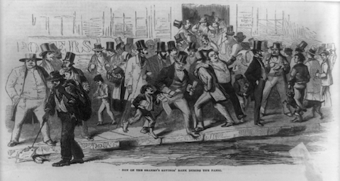 Run on the Seamen's Savings' Bank during the Panic of 1857. Harper's Weekly, 31 October 1857 (Vol. 1, p. 692).