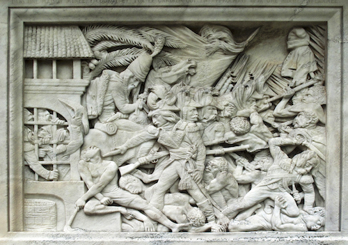 David d'Angers, Relief of General Gobert suppressing a rebellion in Guadeloupe in 1802, 1847, from the tomb of Jacques-Nicolas Gobert in Père Lachaise Cemetery, Paris. Photograph: Steve Soper