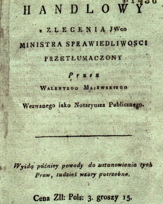 Title Page of the First Polish Translation of the French Commercial Code