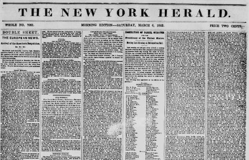Page from The New York herald, 06 March 1852. Chronicling America: Historic American Newspapers. Lib. of Congress. http://chroniclingamerica.loc.gov/lccn/sn83030313/1852-03-06/ed-1/seq-1/