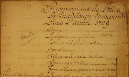 'Recencement de L'Isle de La Guadeloupe Et Dependances Pour L'année 1729' This photo represents a census. It illustrates the way in which early modern French administrators used ethnic categorisations in administrative papers.   Credit: Archives Nationales d'Outre Mer, G1 497