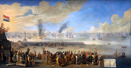 Depicted are English and Dutch ships fighting in the battle of Livorno (Leghorn) in 1653, during the Second Anglo-Dutch war.   Credit: The Battle of Livorno (Leghorn), 1660, Johannes Lingelbach, Rijksmuseum Amsterdam