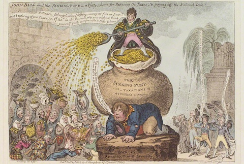 'John Bull and the sinking-fund - a pretty scheme for reducing the taxes & paying-off the national debt!'  by James Gillray, published by Hannah Humphrey hand-coloured etching, published 23 February 1807 NPG D12885 © National Portrait Gallery, London