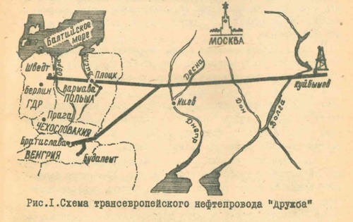 A rough sketch of the original Druzhba pipeline network as developed in the early 1960s. The network would be significantly extended the following decade. Urlov, A. V. Transevropeskii nefteprovod 'Druzhba': Iz opyta stroiltelstva uchastka Brody-Uzhgorod. Moscow: VIINST Glavgaz, 1962