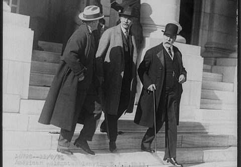 Elihu Root (bottom center) and Charles Evans Hughes (bottom right) outside DAR Hall, Washington, D.C., on Sept. 11, 1921. Library of Congress, available at http://www.loc.gov/pictures/item/2002697195/
