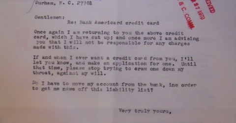 Angry letter from recipient of an unsolicited bank credit card. Senate Banking and Currency Committee Records, 91st Congress, National Archives I, Washington, DC.