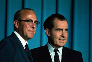 President Nixon and OMB Director George Shultz, the men behind the closing of the gold window, http://www.nixontapes.com.