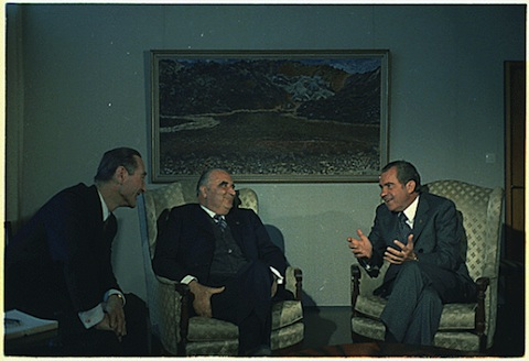 President Nixon meeting with President Pompidou of France and President Eldjarn of Iceland, in Reykjavik, Iceland 5/31/1973 Collection RN-WHPO: White House Photo Office Collection (Nixon Administration) National Archives Identifier: 194512  Pictured: President Kristjan Eldjarn, President Georges Pompidou, President Nixon. Subject: Trip to Iceland - Pompidou.